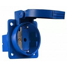 Розетка (гніздо) врізна ГВ 16А/2 (220В) 2Р+РЕ (312) синя