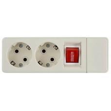 Колодка 2-місна ( 2Р+РЕ + вимикач) КП-З-B-06