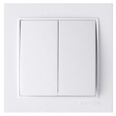 Вимикач Nilson Thor двоклавішний білий