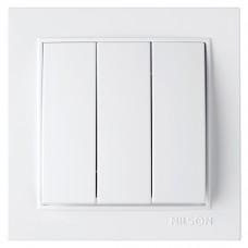 Вимикач Nilson Thor білий трьохклавішний