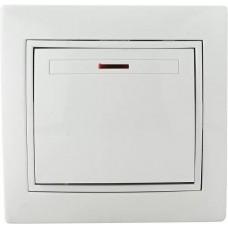 Вимикач 1-кл. з підсвічуванням BBсб10-1-1-Fl-W (білий)