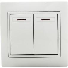 Вимикач 2-кл. з підсвічуванням BBсб10-2-1-Fl-W (білий)