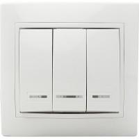 Выключатель 3-кл. с подсветкой BBсб10-3-1-Fl-W