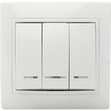 Вимикач 3-кл. з підсвічуванням BBсб10-3-1-Fl-W (білий)