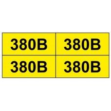 "Знак ""380 В"" жовтий 38х90  (на аркуші 30 шт)"