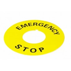 Табличка маркувальна EMERGENCY STOP  жовта кругла для кнопок XB2