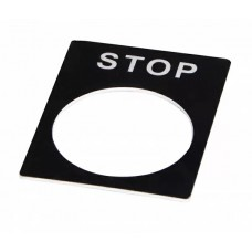 Табличка маркировочная STOP черная для кнопок XB2