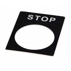 Табличка маркувальна STOP чорна для кнопок XB2
