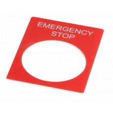 Табличка маркировочная EMERGENCY STOP красная прямоугольная для кнопок XB2