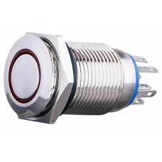 TYJ 16-362 Кнопка металева пласка з фіксац. 2NO+2NC, з підсвічуванням, червона 220V.