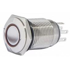 TYJ 16-262 Кнопка металева пласка з підсвічуванням, 2NO+2NC, червона 220V.