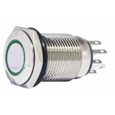 TYJ 16-262 Кнопка металева пласка з підсвічуванням, 2NO+2NC, зелена 220V.