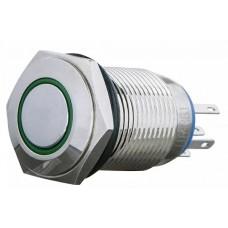 TYJ 16-361 Кнопка металева пласка з фіксац. 1NO+1NC, з підсвічуванням, зелена 220V.