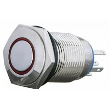TYJ 16-361 Кнопка металева пласка з фіксац. 1NO+1NC, з підсвічуванням, червона 220V.