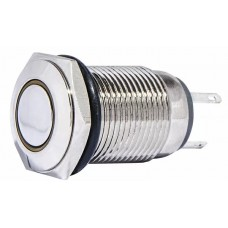 TYJ 16-261 Кнопка металлическая плоская с подсветкой, 1NO + 1NC, желтая 220V.