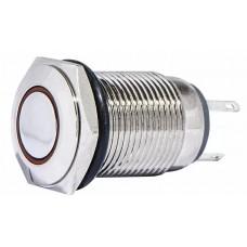 TYJ 16-261 Кнопка металлическая плоская с подсветкой, 1NO + 1NC, красная 220V.