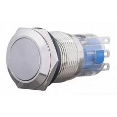 TYJ 19-211 Кнопка металлическая плоская, 1NO + 1NC.