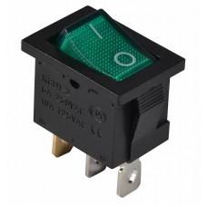 KCD1-2-101N GR/B 220V Переключатель 1 кл. зеленый с подсветкой
