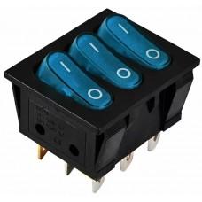 KCD2-3101N C3-BL/B  220V  Перемикач 3 клав. синій з підсвічуванням