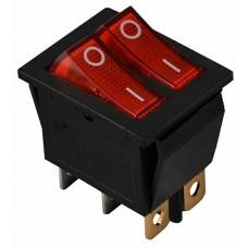 KCD2-2101N R/B 220V Перемикач 2 клав. червоний з підсвічуванням