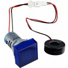Квадратний цифровий вимірювач універсальний струму+напруги  ED16-22 FVAD 0-100A, 50-500В (синій)