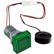 Квадратний цифровий вимірювач універсальний струму+напруги  ED16-22 FVAD 0-100A, 50-500В (зелений)