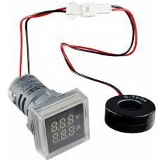 Квадратний цифровий вимірювач універсальний струму+напруги  ED16-22 FVAD 0-100A, 50-500В (білий)