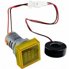 Квадратний цифровий вимірювач універсальний струму+напруги  ED16-22 FVAD 0-100A, 50-500В (жовтий)