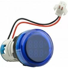 Круглий цифровий вимірювач універсальний струму+напруги  ED16-22 VAD 0-100A, 50-500В (синій)