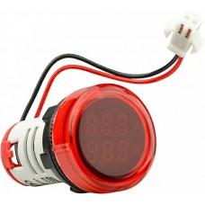 Круглий цифровий вимірювач універсальний струму+напруги  ED16-22 VAD 0-100A, 50-500В (червоний)