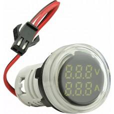 Круглий цифровий вимірювач універсальний струму+напруги  ED16-22 VAD 0-100A, 50-500В (білий)