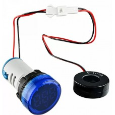 Круглий цифровий вимірювач струму ED16-22AD 0-100A (синій)