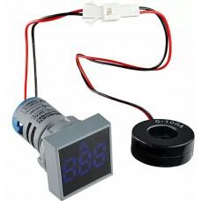 Квадратний цифровий вимірювач струму ED16-22FAD 0-100A (синій)