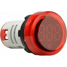 Круглий цифровий вимірювач напруги ED16-22VD 30-500В АС (червоний)
