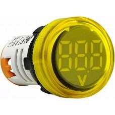 Круглий цифровий вимірювач напруги ED16-22VD 30-500В АС (жовтий)