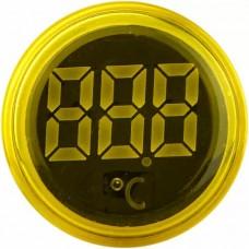 Круглий цифровий вимірювач температури ED16-22WD  -25С - 150С (жовтий)