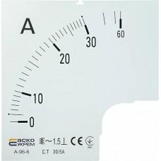 Шкала 30/5А до амперметра А-96-6