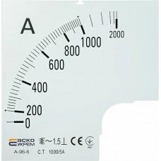 Шкала 1000/5А до амперметра А-96-6