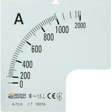 Шкала 1000/5А до амперметра  А-72-6