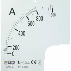 Шкала 800/5А до амперметра А-96-6