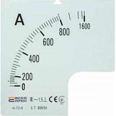 Шкала 800/5А до амперметра  А-72-6