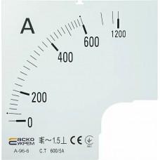 Шкала 600/5А до амперметра А-96-6