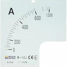 Шкала 600/5А до амперметра А-72-6