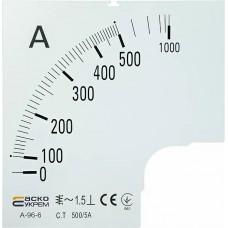 Шкала 500/5А до амперметра А-96-6