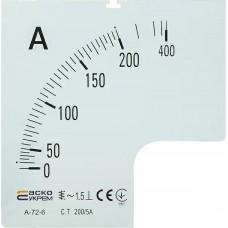 Шкала 200/5А до амперметра А-72-6