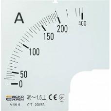 Шкала 200/5А до амперметра А-96-6