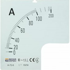 Шкала 100/5А  до амперметра А-72-6