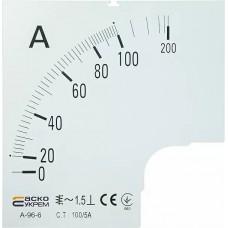 Шкала 100/5А до амперметра А-96-6