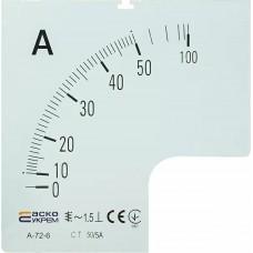 Шкала 50/5А  до амперметра А-72-6