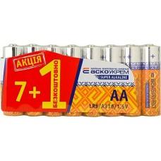 Батарейка лужна AА.LR6. АКЦИЯ (shrink 7+1)